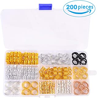 Hair Cuffs Metal Hair Braiding Beads with Crystal Aluminum Dreadlocks Accessories Spring Hair Jewelry Hair Decoration Hoops Hair Rings for Braids (200 Pcs Multiple Styles) by Messen