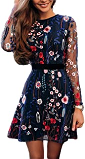 Ninimour Womens Floral Embroidery Casual Mesh Dress