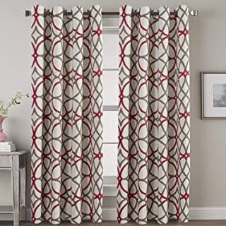 H.VERSAILTEX Blackout Curtains 108 inches Long 2 Panels - Elegant Print Taupe and Red Geo Pattern Home Decoration Grommet Thermal Insulated Window Treatment Drapes for High Ceiling Living Room