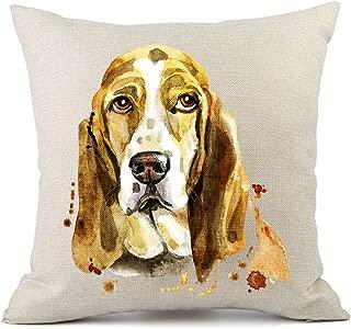 Moyun Cute Pet Basset Hound Dog Pattern Cotton Linen Throw Pillowcase Cushion Cover Car Sofa Home Decor 45 x 45 cm