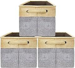 Duży kosz na śmieci zestaw [3-pak] pudełko do przechowywania składane płótno tkanina składany organizer z uchwytami do dom...