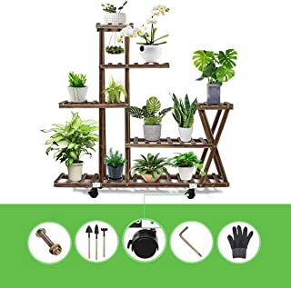 Anticorrosive flower stand Wooden plant stand Multilayer Simplicity bonsai stand Pest control Moisture-proof Solid wood (F...