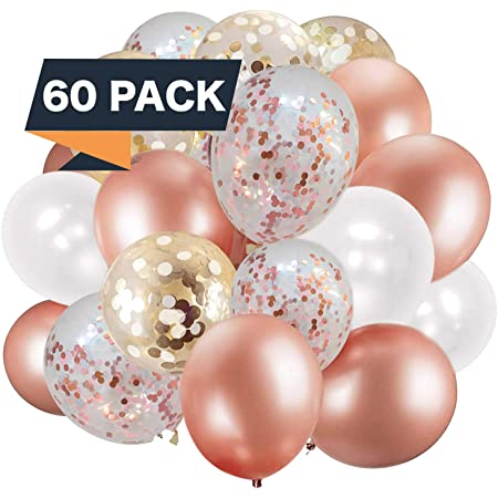 60 Pack Rose Gold Balloons + White Balloons + Confetti Balloons w/Ribbon | Rosegold Balloons for Parties | Bridal & Baby Shower Balloon Decorations | Latex Party Balloons | Graduation and Engagement