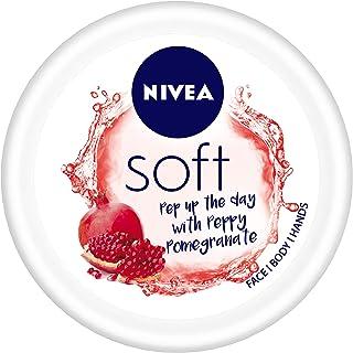 NIVEA Soft Light Moisturizer Cream, Peppy Pomegranate, with Vitamin E & Jojoba Oil for Face, Hands and Body, 100 ml