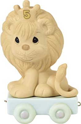 Precious Moments, This Day Is Something To Roar About, Birthday Train Age 5, Bisque Porcelain Figurine, 142025