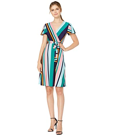 Donna Morgan Cap Sleeve Stripe Print Wrap Dress (Navy/Green Multi) Women