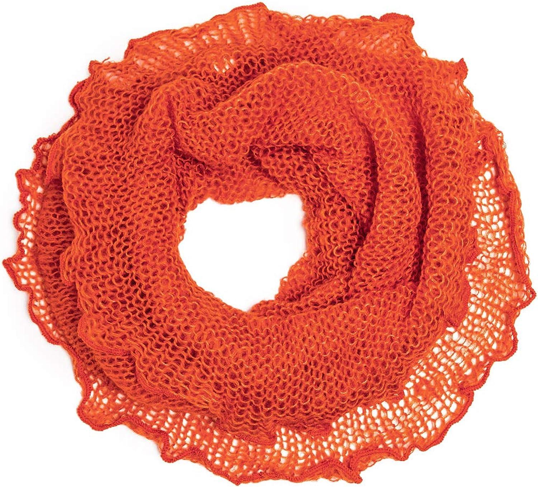 Bohomonde BohoMonde, Mae Infinity Scarf - Soft Curly Edged Knit Tube,