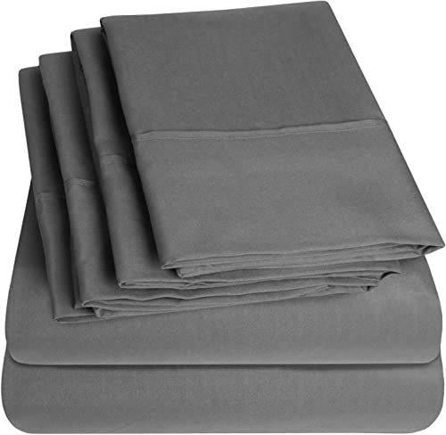 Sweet Home Collection 4 Piece 1500 Thread Count Egyptian Quality Deep Pocket Bed Sheet Set, Gray, Queen