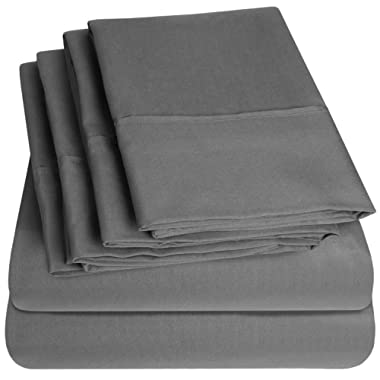 Sweet Home Collection Queen Sheets-6 Piece 1500 Thread Count Fine Brushed Microfiber Deep Pocket Set-2 EXTRA PILLOW CASES, VALUE, Gray