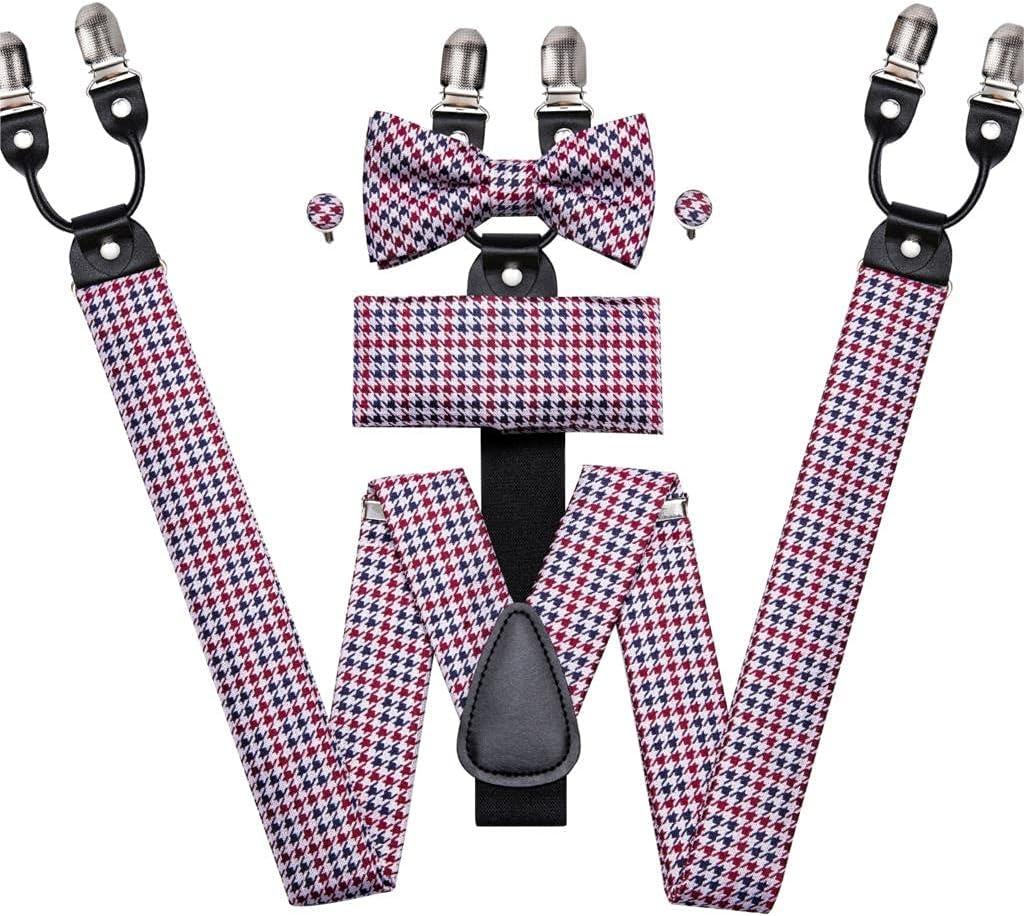 JJZXC Men's Suspender Set Leather Metal 6 Clips Braces Vintage Wedding Red Plaid Suspender Bow Tie Set Men (Color : A, Size : Adjustable)