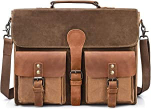NEWHEY Umhängetaschen Aktentasche Herren 15.6 Zoll Wasserdicht Vintage Laptoptasche Messenger Bag Arbeitstasche Notebook Büro Leder Braun