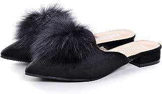 Pom Pom Flat Mules Womens Fashion Pointy Slippers Shoes