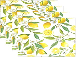 QQMARKET Placemats Set of 6, Fresh Lemon and White Floral with Leaves Place Mats for Dining Room Kitchen Table Decor, Yellow White and Green 12x18 inch