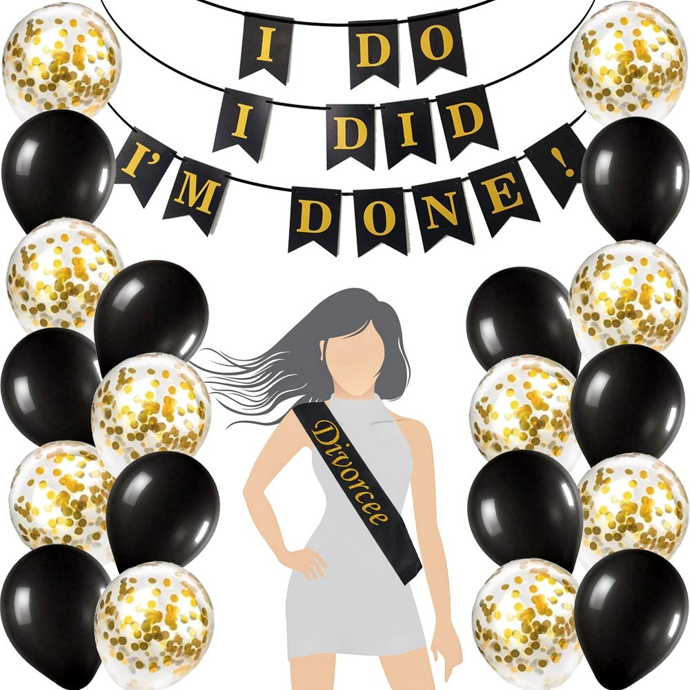 Just Divorced Garland Divorce Party Single Celebration Ex-Husband Ex-Wife Banner Bunting Flags Glitter Silver Gold