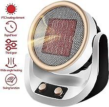 KELEQI Portátil Ventilador Calefactor, 2 Configuraciones De Calor (1000W/2000W),Calefactor Aire Frio Y Caliente,Oscilación Automática,Calentador De Cerámica PTC, para El Hogar La Oficina HC