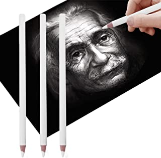 3Pcs White Charcoal Pencils Art Drawing Highlight Pencils Sketch Pencils for Dark or Tinted Paper Blender and Burnisher Pe...