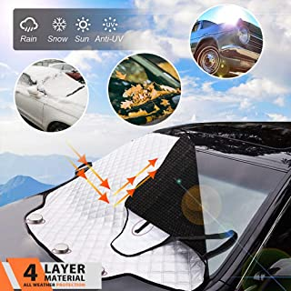 MagiqueW Car Windshield Snow Cover Car Windshield Snow Ice Cover, Car Sunshades for Windshield with Magnetic Edges, Windshield Winter Cover Fits Most Cars and SUV
