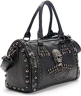 Damen-Handtasche mit Totenkopf-Motiv, großes Fassungsvermögen, Gothic-Stil, Schultertasche mit Nieten