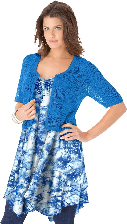 Roamans Women's Plus Size Cropped Pointelle Cardigan Short Sleeve Sweater