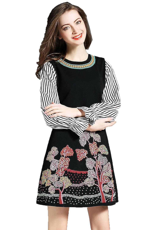 [美しいです] レディース チャイナドレス ワンピース 七分袖 夏 秋 Aライン スリム ウエスト締める 中国風 七分袖 刺繍 スプライス ラッパ袖