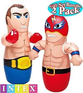 Intex 3D Bop Bag Blow Up Inflatable Boxer & Wrestler Gift Set Bundle - 2 Pack