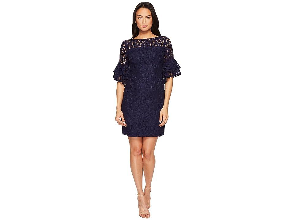 LAUREN Ralph Lauren Marcelle Monte Carlo Lace Dress (Lighthouse Navy/Wheat) Women