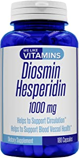 Diosmin Hesperidin 1000mg Per Serving – 180 Capsules – 90 Day Supply - Diosmin and Hesperidin Supplement – Helps to Support Healthy Circulation, Veins, Capillaries, and Lymphatic Drainage