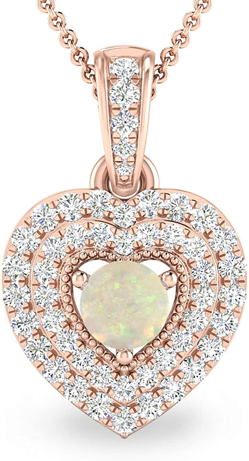 Inspereza Gemstone Credence Max 62% OFF and Diamond Double Pendant 14kt in Halo Heart