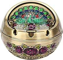 ChezMax Vintage Metal Windproof Ashtray with Lid Portable Embossed Peacock Pattern Push Type Ashtray
