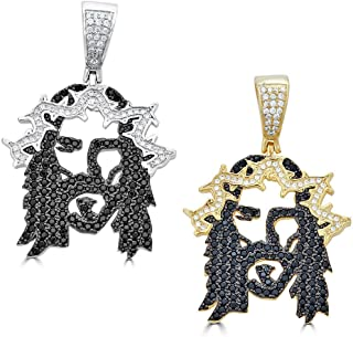 Solid 925 Sterling Silver Iced Out Jesus Piece Pendant - Men's - Great for Any Chain! ICY Black CZ Ghost Jesus