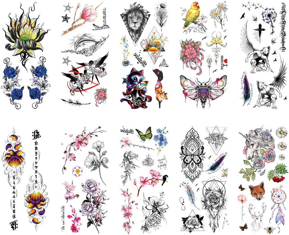 TAFLY Over item handling Product Temporary Tattoos Fake Tattoo Waterp Women for Rose Flower