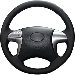 JI Loncky Black Genuine Leather Auto Custom Steering Wheel Covers for Toyota Fortuner Hilux Vigo Double Cab Accessories
