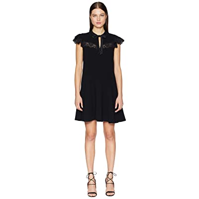 Rebecca Taylor Sleeveless Crepe Lace Dress (Black) Women
