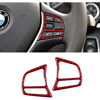 MICOOS Compatible with Carbon Fiber Steering Wheel Trims Inner Wheel Button Cover Interior Accessories for BMW 3 4 Series GT F30 2013 2014 2015 2016 2017 2018 2019 (2Pcs Red)