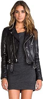 Women's Lambskin Leather Biker Black Jacket