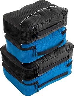 Bago 4 Set Packing Cubes for Travel - Luggage & Suitcase Organizer - Cube Set (2Large+2Medium, Black,BlueTale)