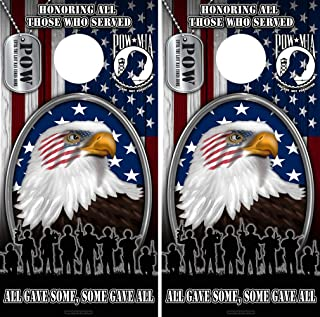 Speed Demon Hot Rod Shop Cornhole Board Wraps ~ American Flag Eagle with Veterans POW Dog Tags Corn Hole Boards Laminated Decal Wraps (Set of 2)