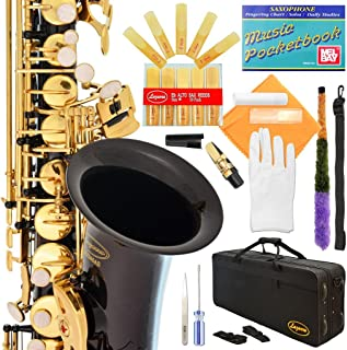 Lazarro Eb E Flat Alto Saxophone with Music Pocketbook, Case and Care Kit Standard black 360-BK