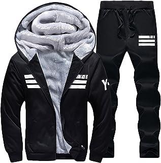 Mens Fleece Lined Sweatsuit Striped Casual Winter Coat Sports Tracksuit