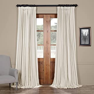 HPD Half Price Drapes PDCH-KBS2BO-96-DW Blackout Extra Wide Vintage Textured Faux Dupioni Curtain (1 Panel), 100 X 96, Off...