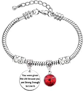 LINKY She Believed She Could So She Did Graduation Gift Bracelet with Birthstone,Inspirational Gift for Girl,Women