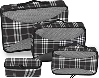 ZZAEO Christmas Black Gray Plaid Travel Organizer Packing Cube Set of 4 Pcs, Luggage Organizer Suitcase Storage Bag for Tr...