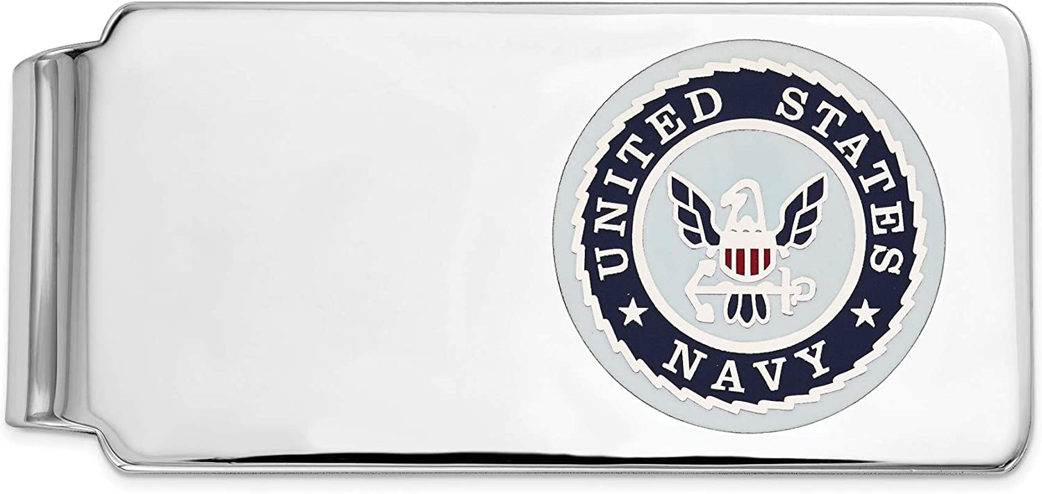 Bonyak Jewelry Sterling Silver RhodiumPlated U.S Navy Money Clip