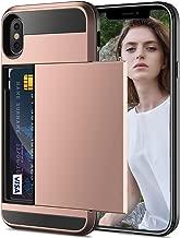 Case Card Holder for iPhone X, iPhone X Luxury Slim Hybrid Credit Card Pocket Wallet Slot Holder iPhone Case - Rose Gold