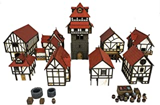 War World Gaming Medieval Town Complete Township (Unpainted) – 28mm Heroic Scale Fantasy WargamingTerrain Model Diorama T...