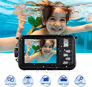 undersplash Underwater Camera Camcorder Full HD 1080P for Snorkeling 24.0 MP Waterproof Point and Shoot Digital Camera Dual Screen Action Camera (801BK)