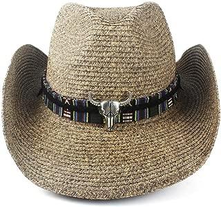 TX GIRL Western Cowboy Hat Unisex Women Men Hollow Western Cowboy Hat Lady Dad Beach Sombrero Hombre Straw Panama Cowgirl Jazz Sun Cap Size 56-58CM Novelty Party Costumes