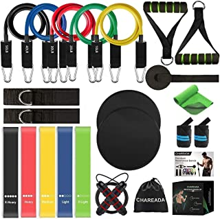 CHAREADA 23 Pack Resistance Bands Set Workout Bands, 5 Stackable Exercise Bands 5 Loop Resistance Bands 2 Core Sliders – D...