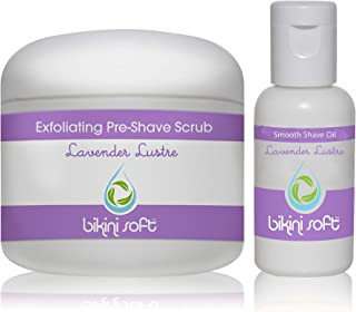 BIKINI SOFT LAVENDER LUSTRE PERFECT SHAVE SET (5 oz) - Organic Shea Butter & Cane Sugar Pre-Shave EXFOLIATING SCRUB & Lavender Shave Oil GIVES YOU THE SMOOTHEST SHAVE EVER -Perfect For Sensitive Skin