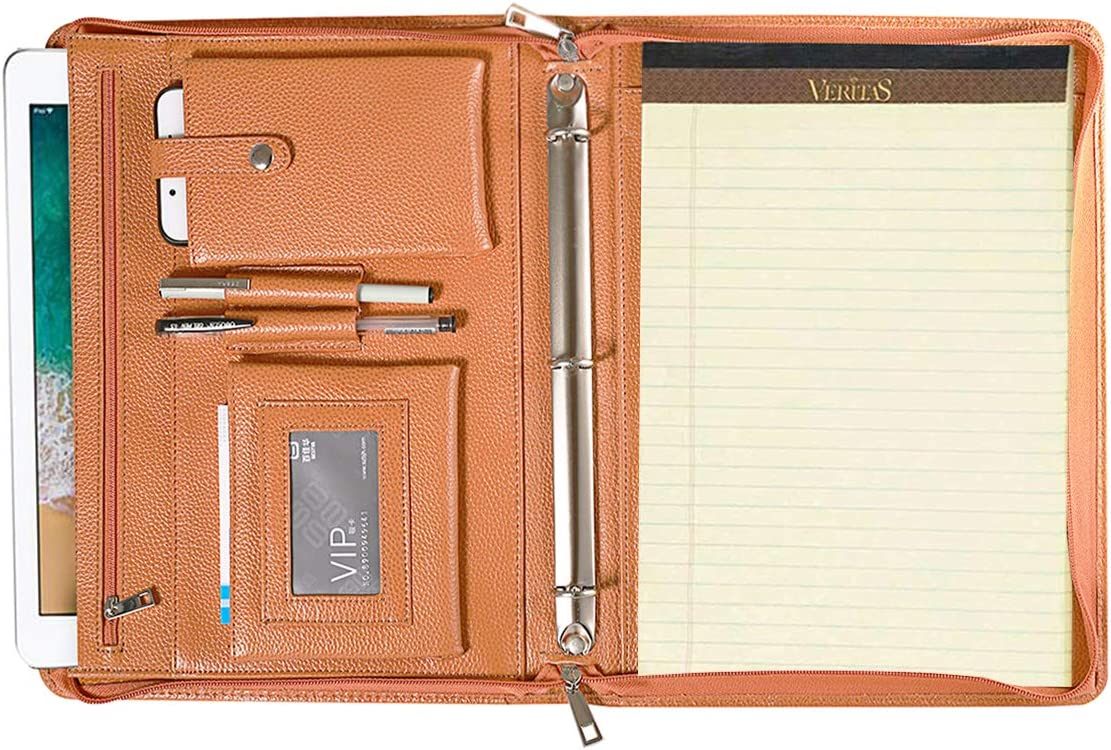A4 Letter Size Writing Pad Calculator Black Business Portfolio Padfolio Professional Genuine Pebble Leather Zippered Organizer with Tablet Holder Card Holder Document Folder and Outside Pocket